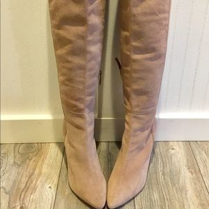 OVER THE KNEE Blush Beige Genuine Suede ZARA Woman